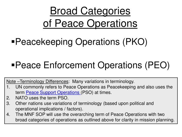 Broad Categories