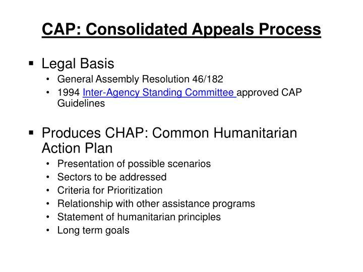 CAP: Consolidated Appeals Process