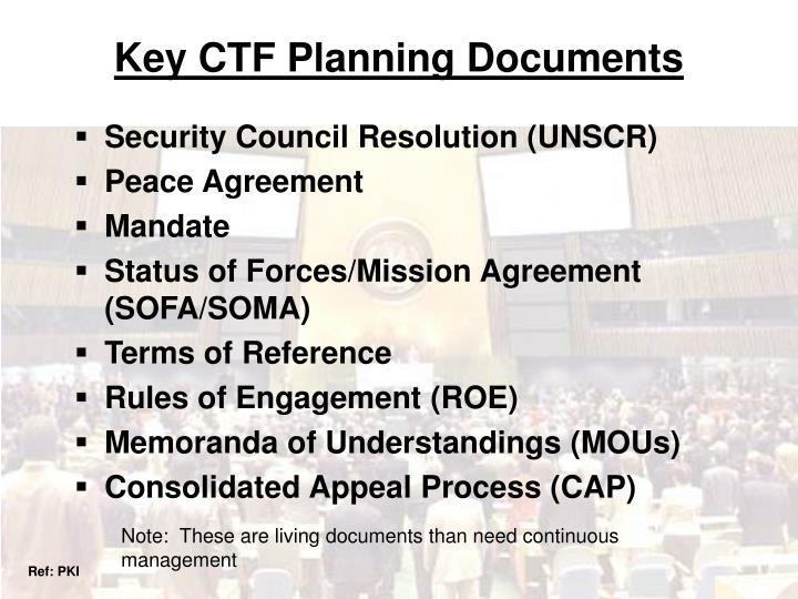 Key CTF Planning Documents