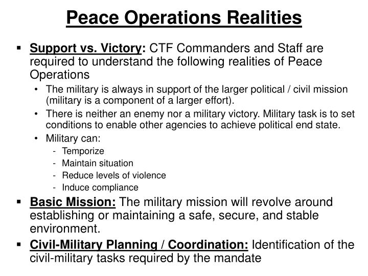 Peace Operations Realities