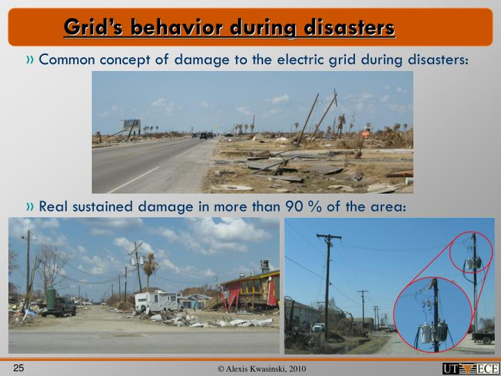 Grid's behavior during disasters