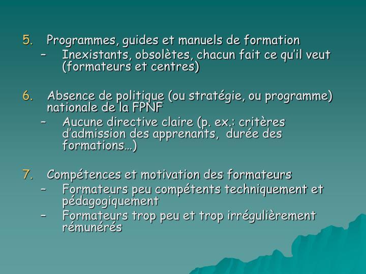 Programmes, guides et manuels de formation
