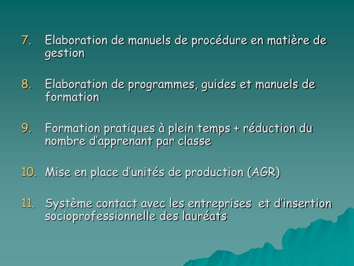 Elaboration de manuels de procédure en matière de gestion