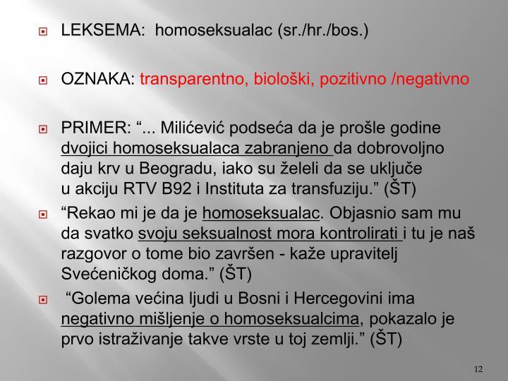 LEKSEMA:  homoseksualac (sr./