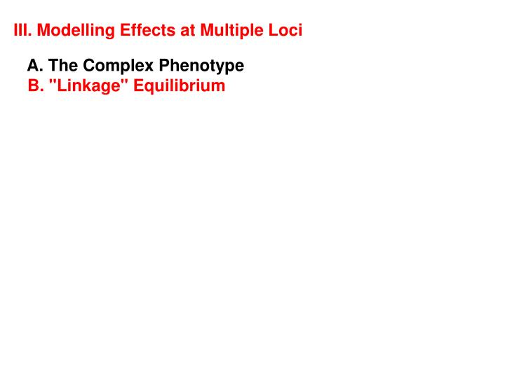 III. Modelling Effects at Multiple Loci