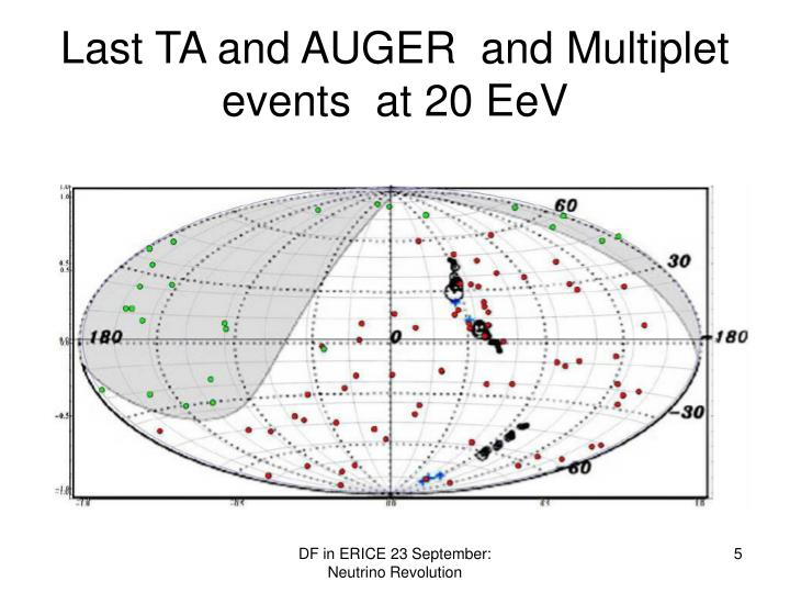 Last TA and AUGER  and Multiplet events  at 20 EeV