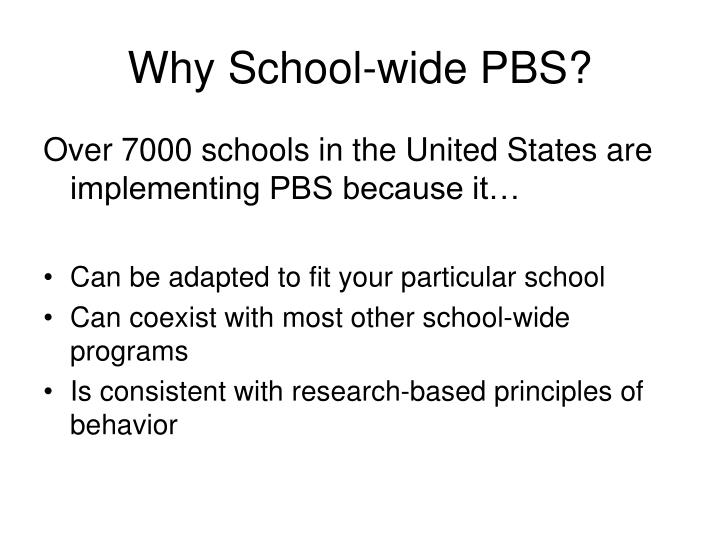 Why school wide pbs