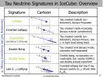 tau neutrino signatures in icecube overview