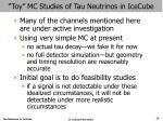 toy mc studies of tau neutrinos in icecube