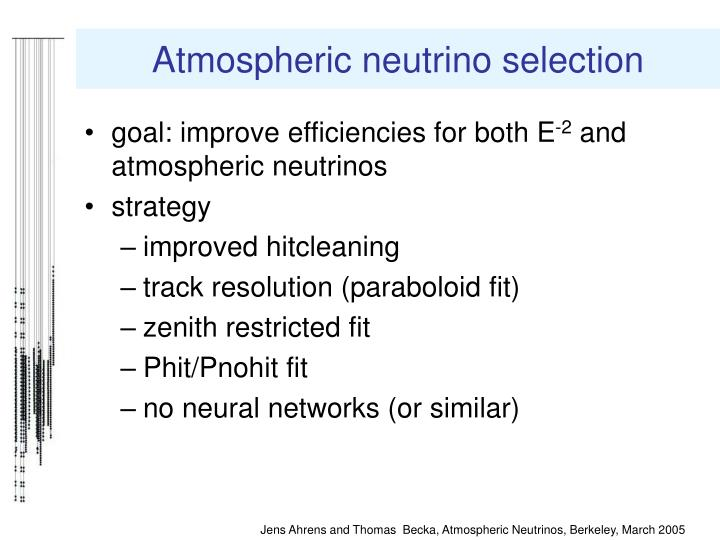 Atmospheric neutrino selection
