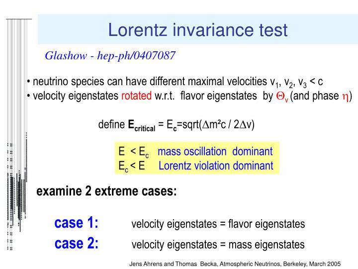 Lorentz invariance test
