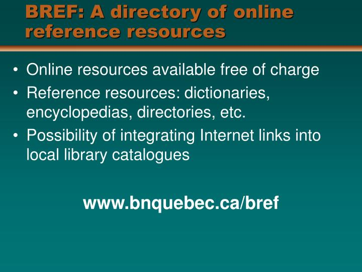 BREF: A directory of online reference resources
