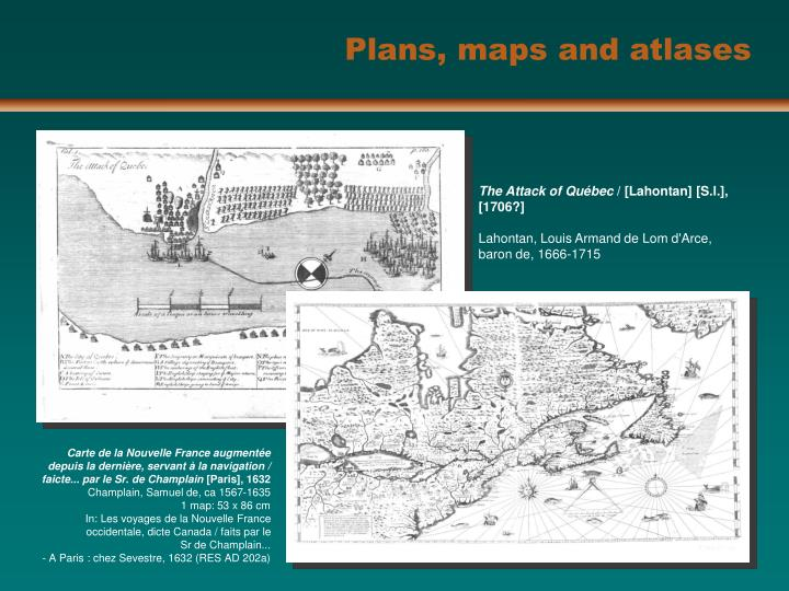 Plans, maps and atlases
