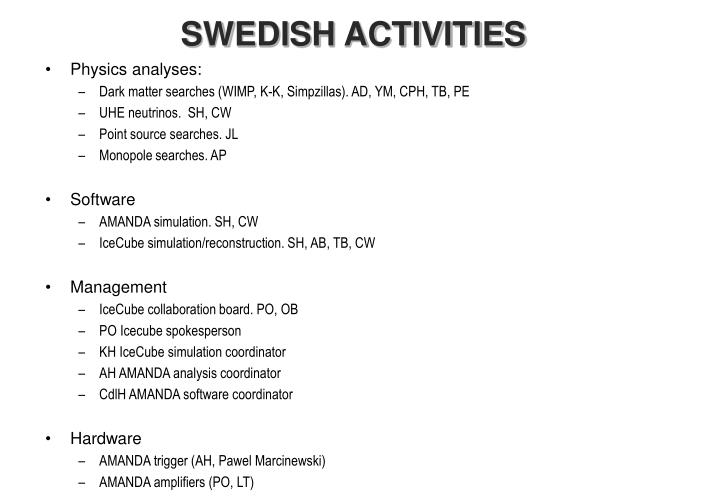 SWEDISH ACTIVITIES