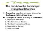 the non adventist landscape evangelical churches