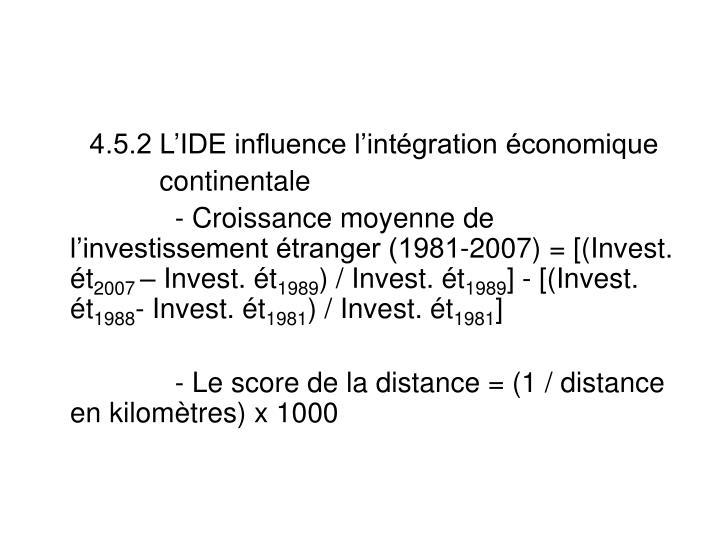 4.5.2 L'IDE influence l'intégration économique