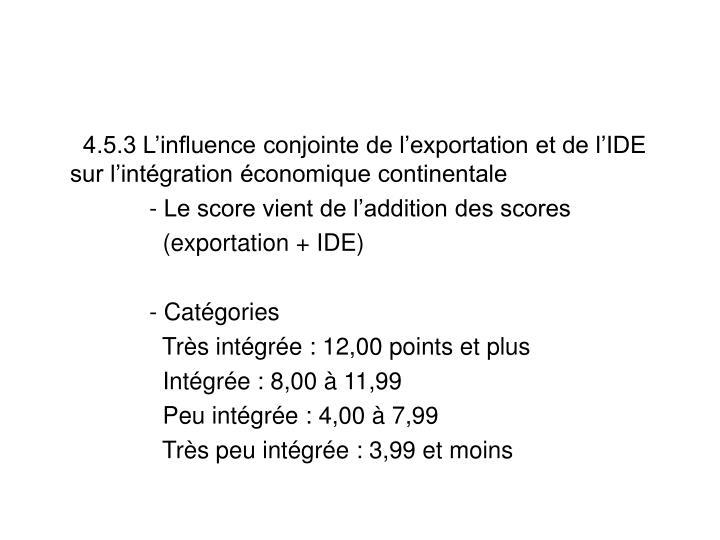 4.5.3 L'influence conjointe de l'exportation et de l'IDE sur l'intégration économique continentale