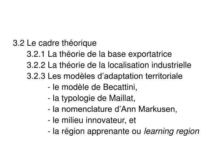 3.2 Le cadre théorique