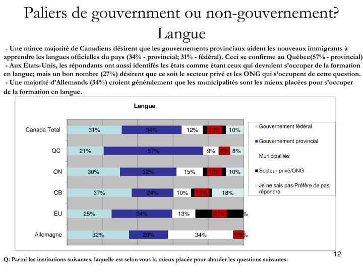 Paliers de gouvernment ou non-gouvernement?