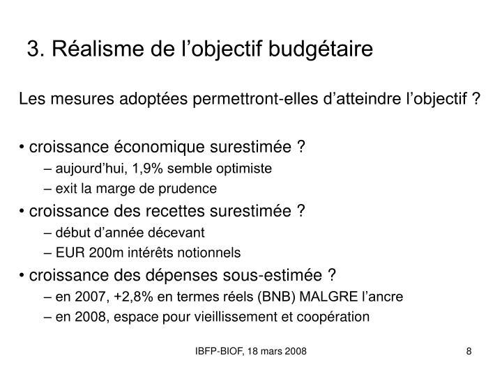 3. Réalisme de l'objectif budgétaire