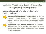 an italian food supply chain which certifies the origin and quality of products