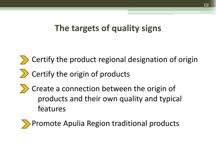 The targets of quality signs