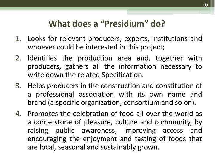 "What does a ""Presidium"" do?"