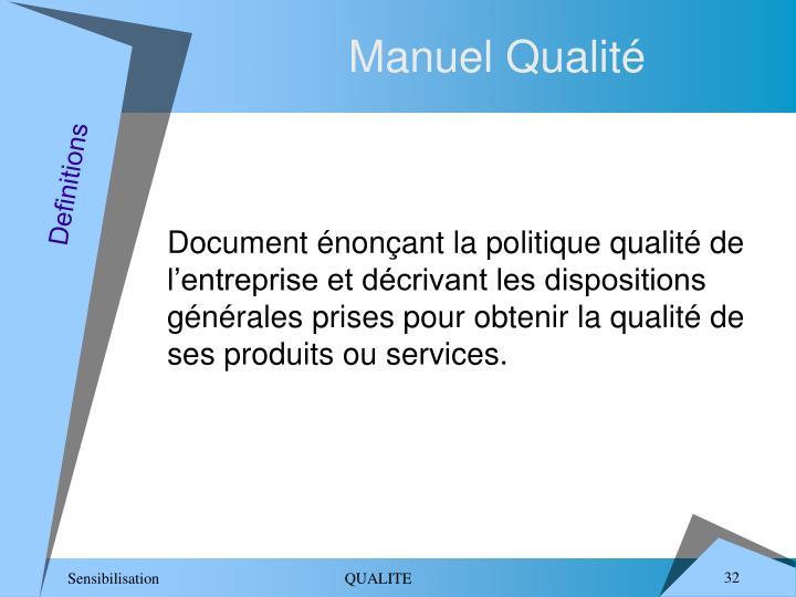 Manuel Qualité