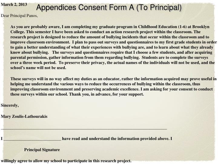 Appendices Consent Form A (To Principal)