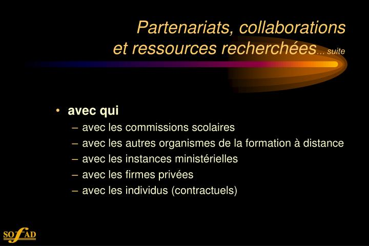 Partenariats, collaborations