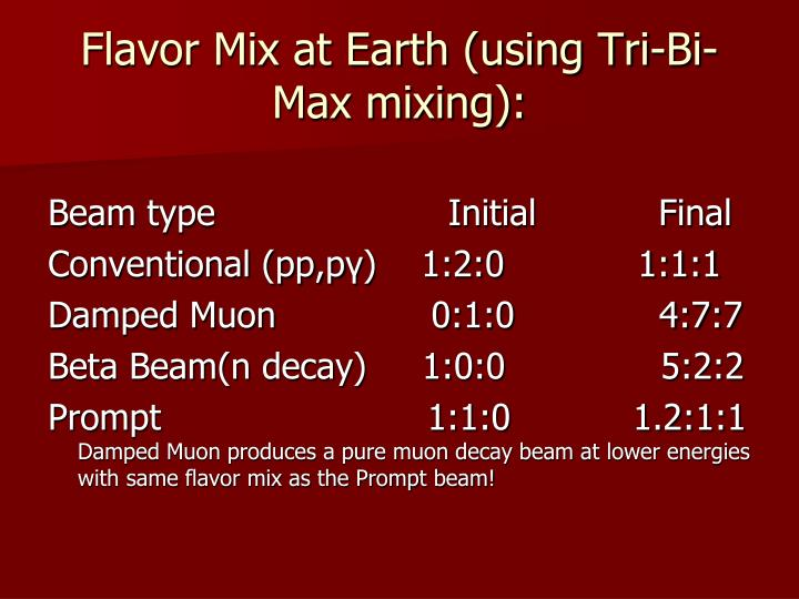 Flavor Mix at Earth (using Tri-Bi-Max mixing):
