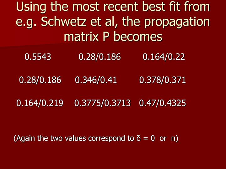 Using the most recent best fit from e.g. Schwetz et al, the propagation matrix P becomes