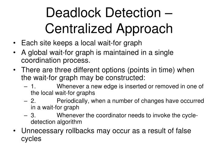 Deadlock Detection – Centralized Approach