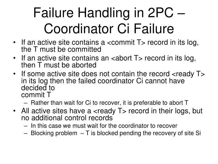 Failure Handling in 2PC – Coordinator Ci Failure