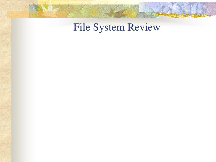 File system review