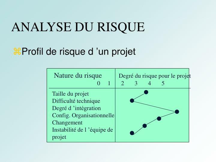 ANALYSE DU RISQUE