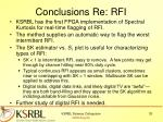 conclusions re rfi