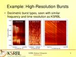 example high resolution bursts