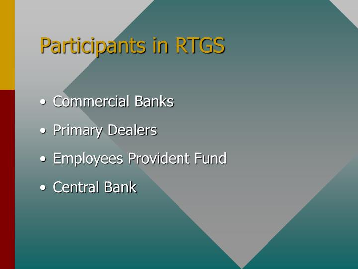 Participants in RTGS