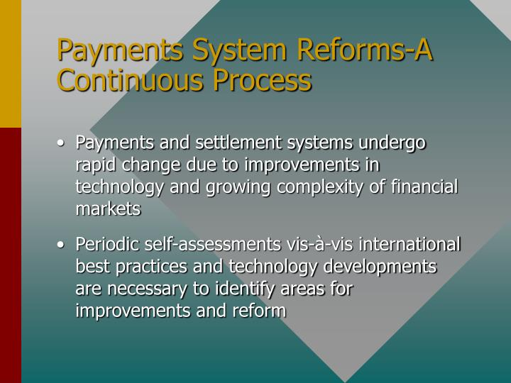 Payments System Reforms-A Continuous Process