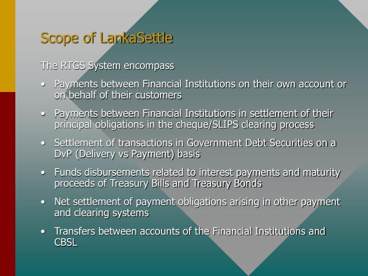 Scope of LankaSettle