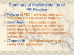 summary of implementation of pe elective