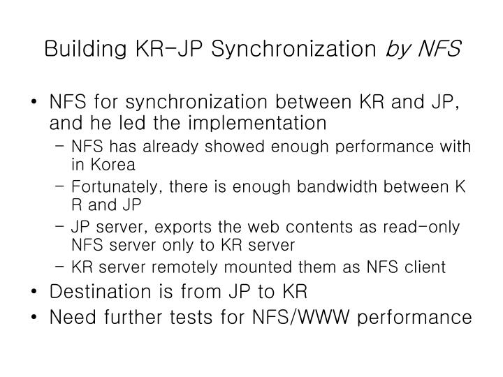 Building KR-JP Synchronization