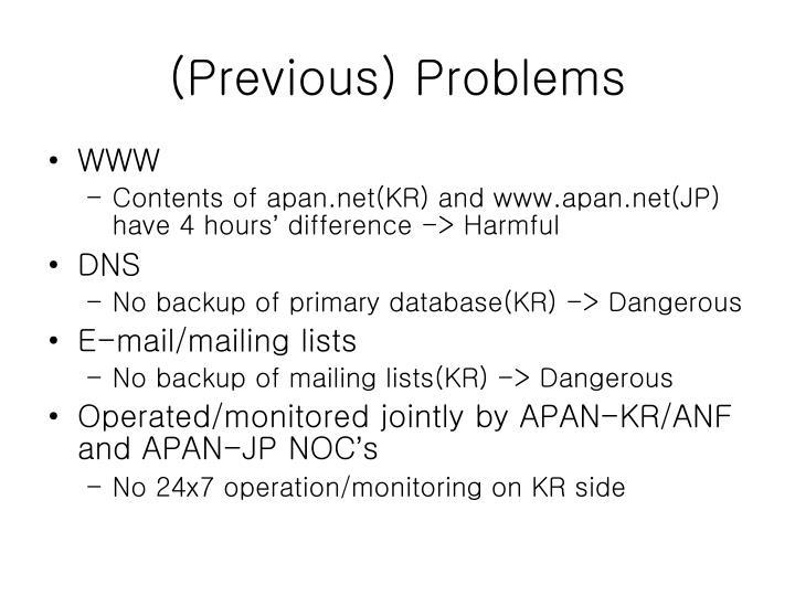 (Previous) Problems
