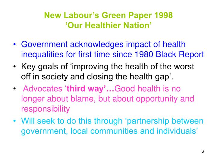 New Labour's Green Paper 1998