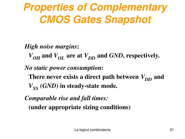 Properties of Complementary CMOS Gates Snapshot