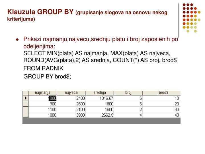 Klauzula GROUP BY