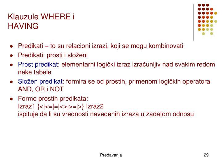 Klauzule WHERE i HAVING