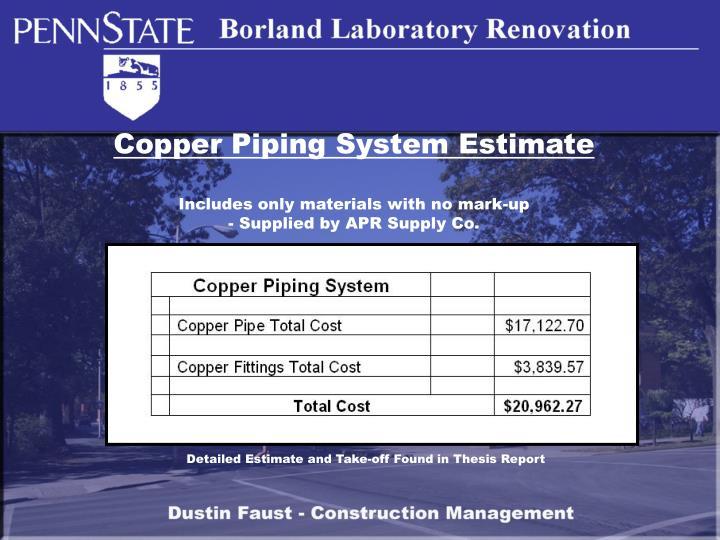 Copper Piping System Estimate