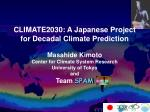 climate2030 a japanese project for decadal climate prediction